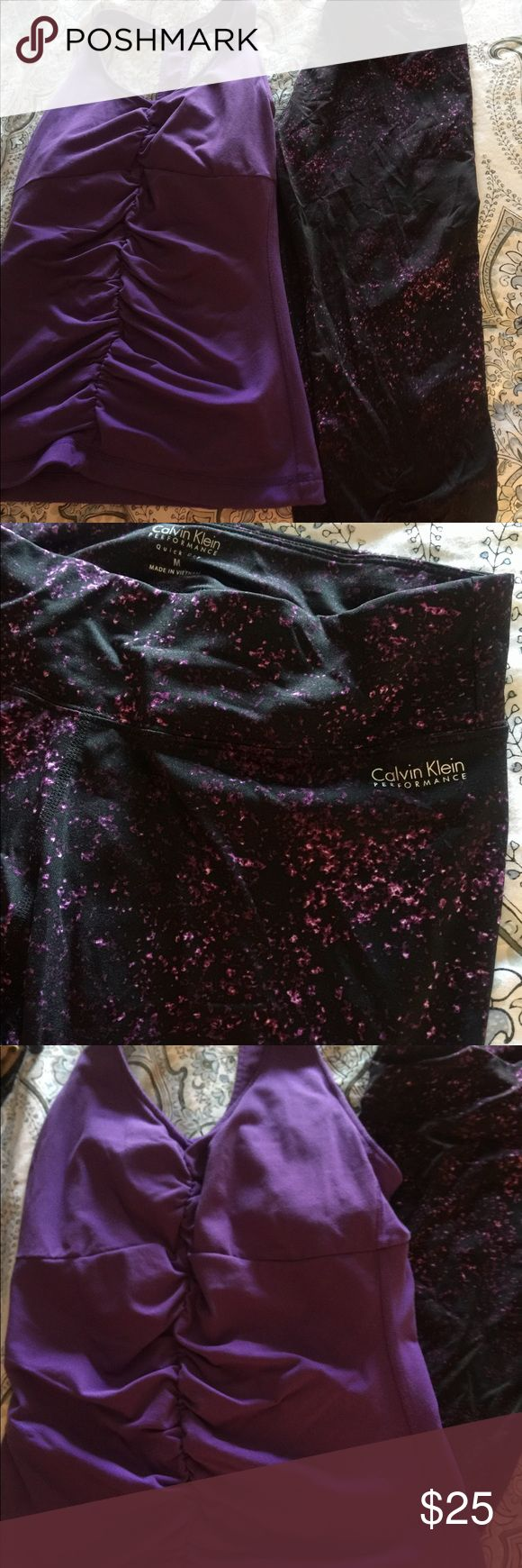 Gym Capri leggings and tank set Calvin Klein leggings never worn. I bought it but it was too small for me. Size says medium but it's more like a small. Matching small purple tank top. Calvin Klein Other