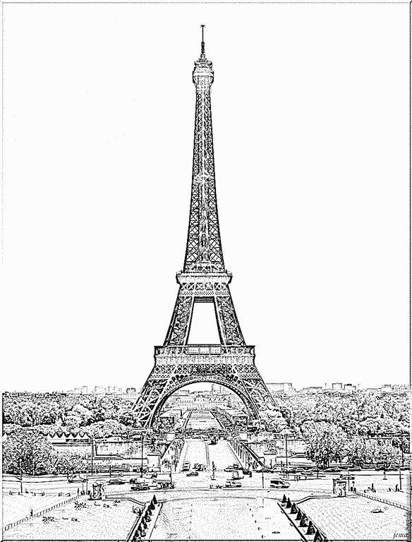 1000 images about tour eiffel on pinterest champs romantic paris and french baguette - La tour eiffel a colorier ...