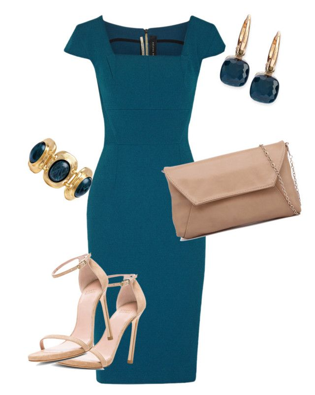 Throwback Dress by toots2271 on Polyvore featuring Roland Mouret, Stuart Weitzman, Pomellato and Kenneth Jay Lane