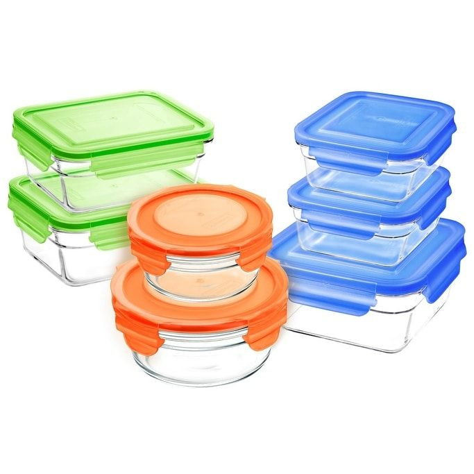 Glasslock 14 Piece Oven Safe Food Storage Container Set, Blue