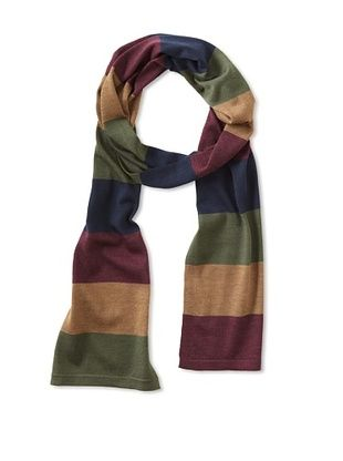 Cullen Men's Multi Color Bold Stripe Scarf (Bordeaux Combo)