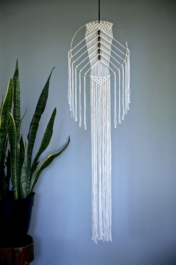 Macrame Wall Hanging 50 Natural White Cotton Rope by BermudaDream