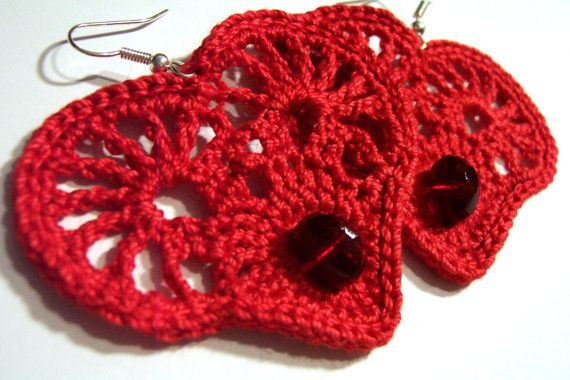 Heart earrings crochet ,red €9.00