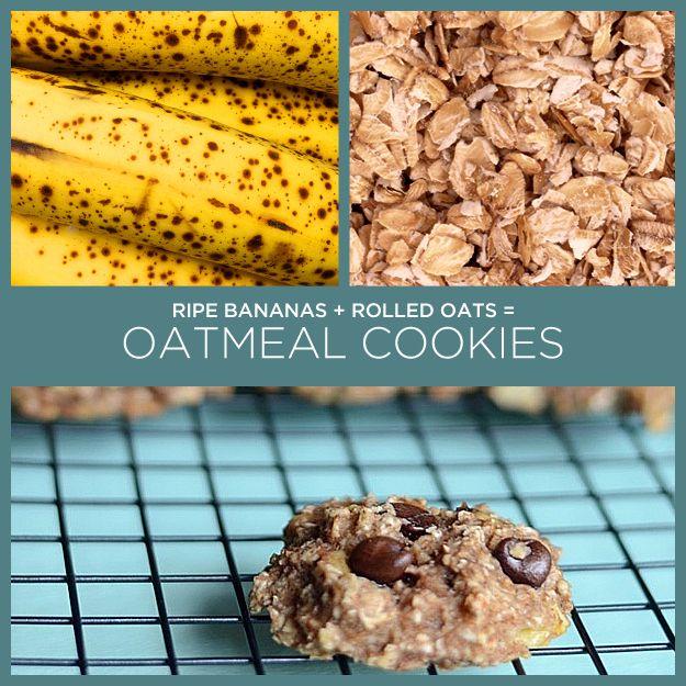Bananas maduras + aveia = biscoitos de aveia