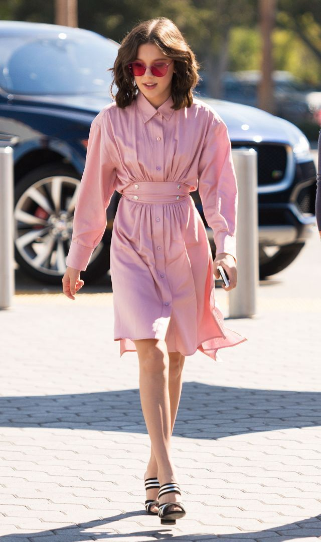 5b7e79b50d53 On Millie Bobby Brown  Sies Marjan dress  Alumnae shoes Similar Styles   Ray-Ban Mirrored Rimless Sunglasses ( 195)  Sies Marjan Ruffle Sleeve Dress  ( 1295)  ...