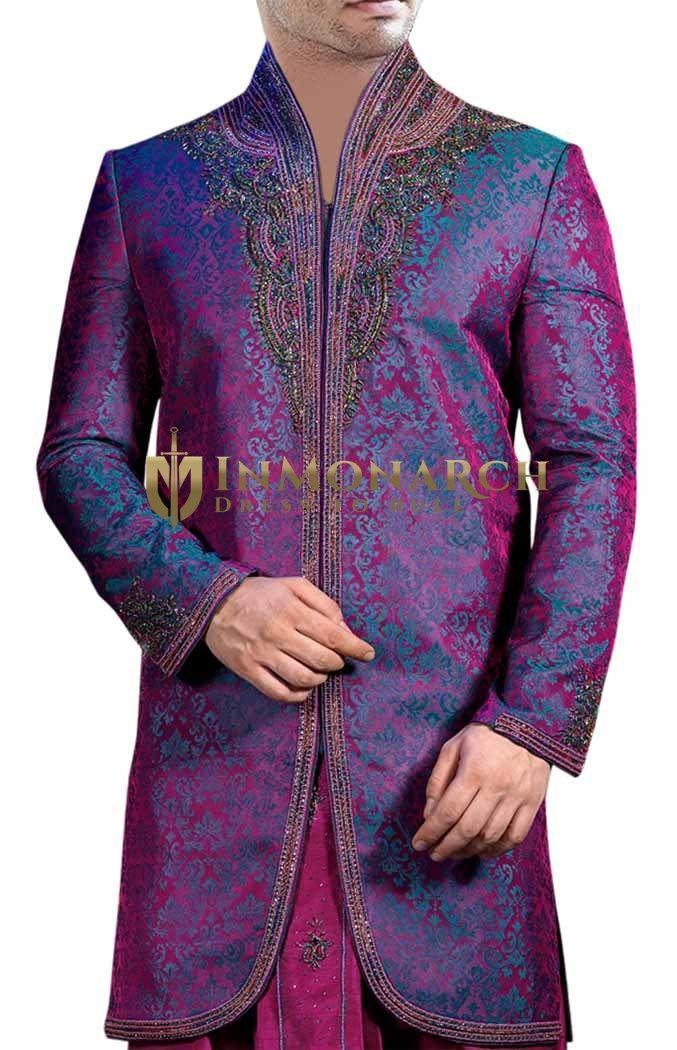 Aesthetic High Purple Neck Indo Western Suit