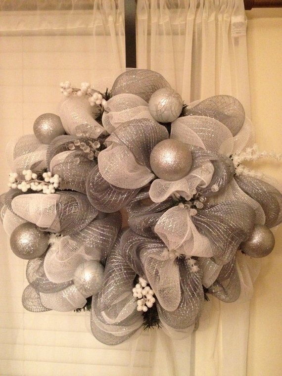 White and silver Holiday Deco mesh wreath . $50.00, via Etsy.