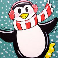 Perky Penguin canvas painting party for kids.