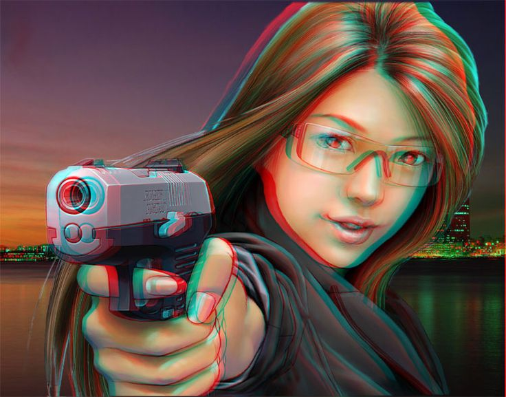 girl with gun anaglyph 3d stereo photos anaglyphs
