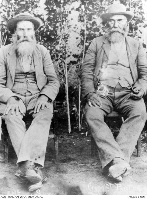 An informal portrait of two Boer leaders who came to prominence during the War in South Africa, 1899-1902.  General J P Snyman (left), and General Philip Botha (right).  General Snyman served under...
