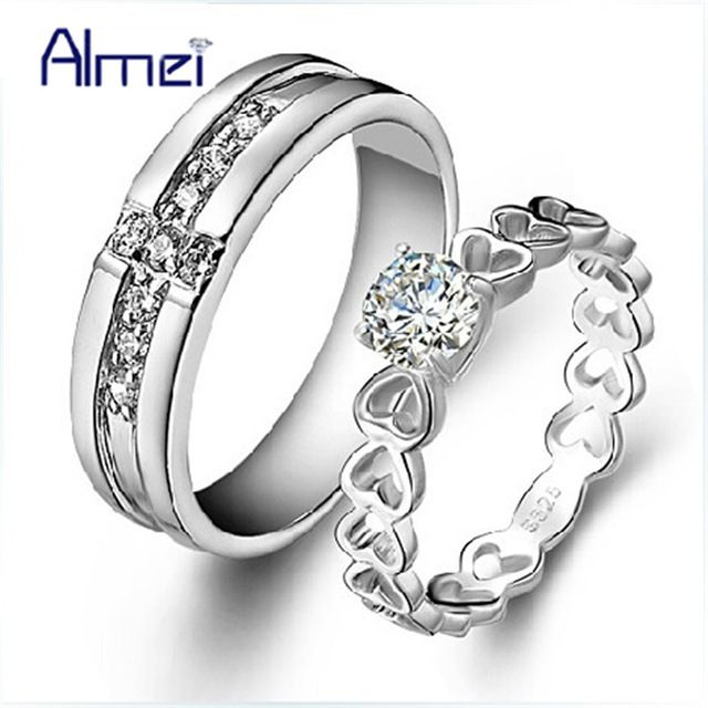 Special price Almei Pair Cubic Zirconia Couple Rings for Men & Women Wedding Band Bijoux Anillos Crystal Mens Jewelry Man Ring Heart Anel J391 just only $5.19 with free shipping worldwide  #weddingengagementjewelry Plese click on picture to see our special price for you