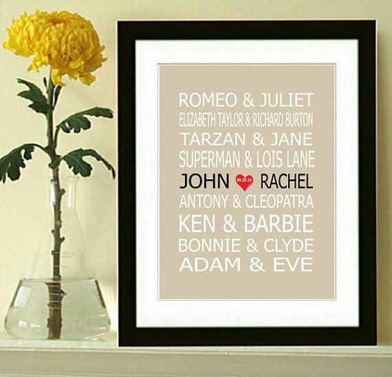 Famous Couples Print, Couples Art, Personalized Couples Gift, Custom Wedding Gift, Bridle Shower Gift