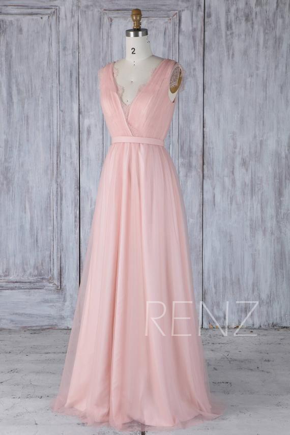 Bridesmaid Dress Blush Pink V Neck Tulle Wedding Dress Key Hole Illusion Lace Back Long Prom Dress Sleeveless Maxi Dress Full Length(HS487)