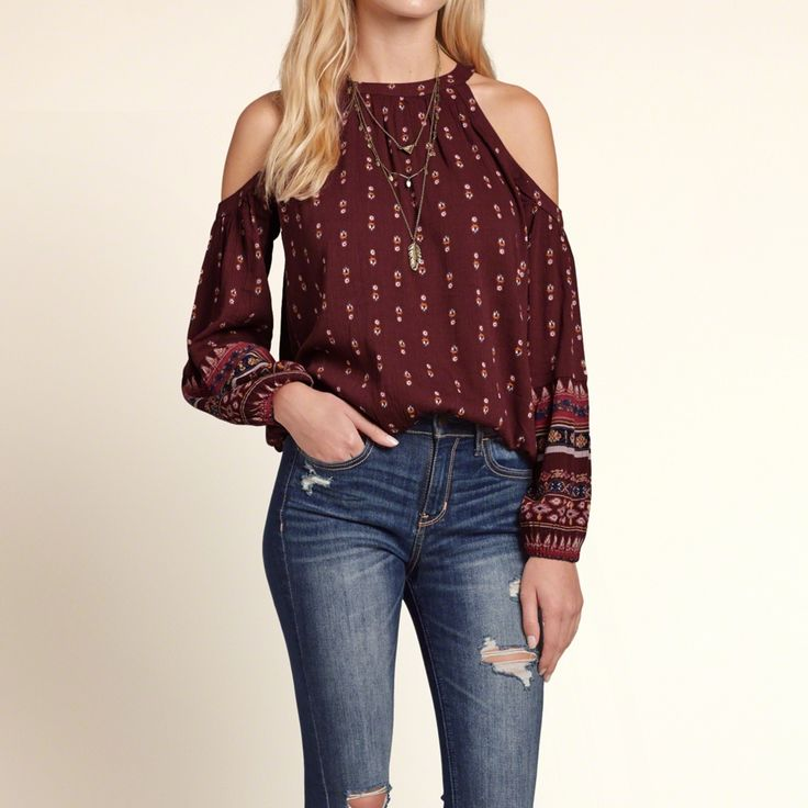 Girls Cold Shoulder Peasant Blouse | Easy and relaxed with cold shoulder detailing, pretty all-over pattern with comfortable cinched sleeves and hem, finished with a keyhole back, Easy Fit | HollisterCo.com