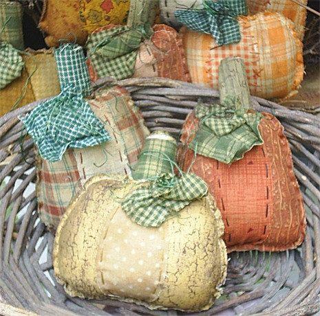 Primitive raggedy fall Pumpkin Bowl Fillers