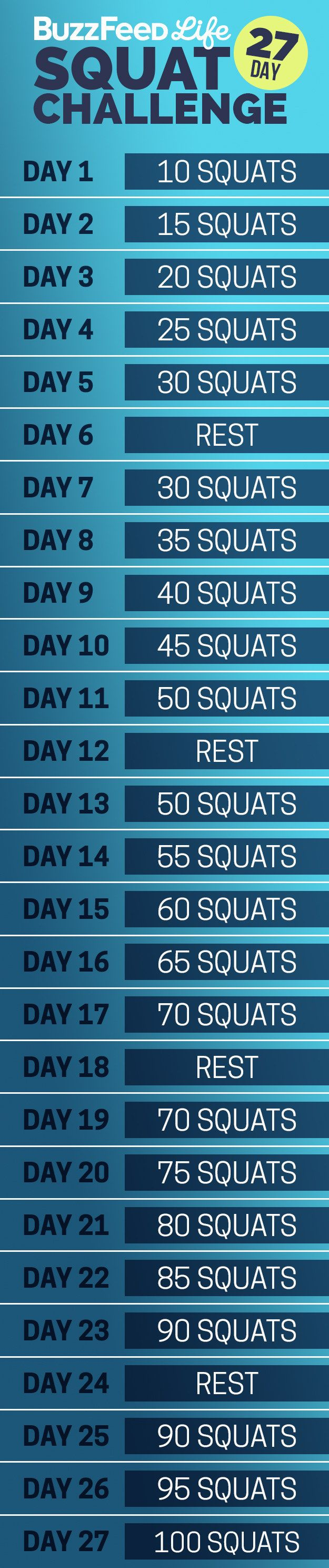 Here's your daily squat schedule:   Take BuzzFeed's 27-Day Squat Challenge, Have The Best Summer Of Your Life