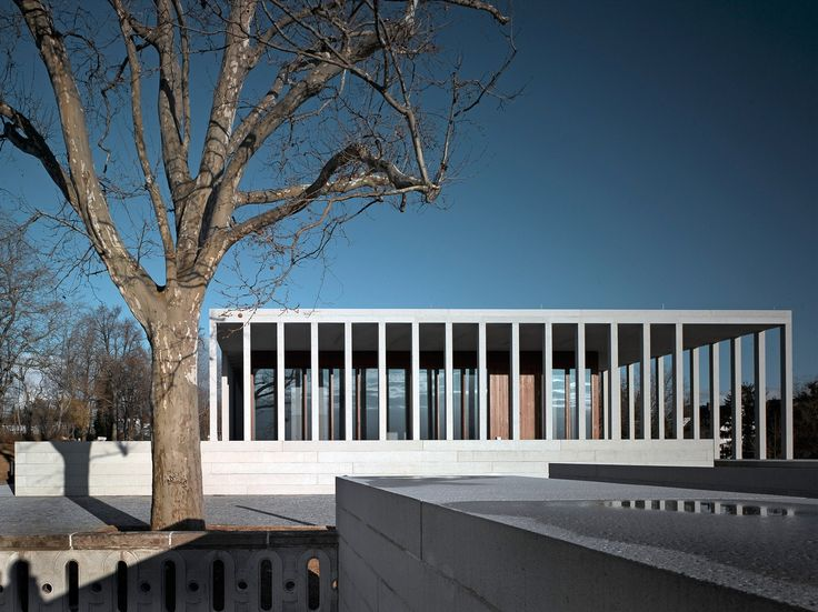 Columns which are closely repeated offer a classic and elegant simplicity to the Museum of Modern Literature Pavilion in Marbach, Germany by David Chipperfield Architects