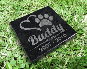 6x6 Personalized Engraved Granite Dog Cat Memorial Stone Plaque Paw Print Custom Granite Grave Marker In Memory for Pet Animal Remembering