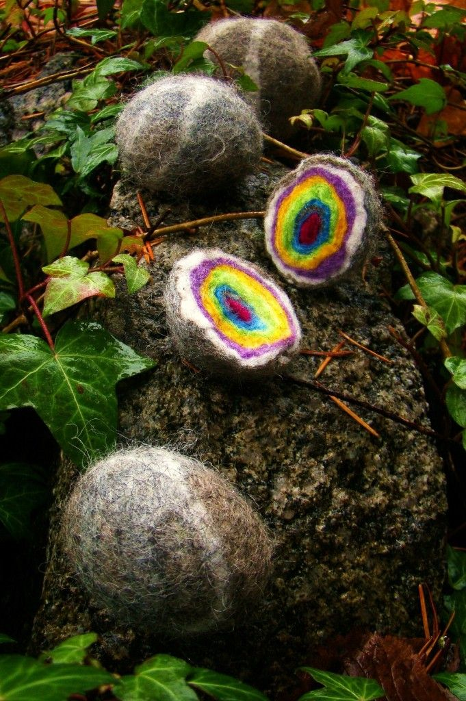Rainbow Rocks- felting tutorial and story.   Easy and very sweet story.  the kids loved them.