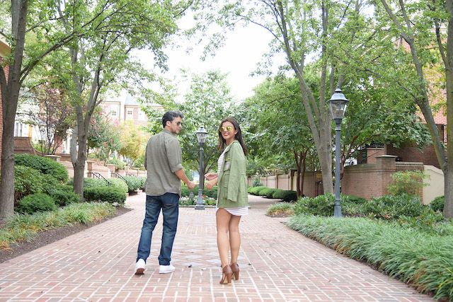 Wearing:  Marisol: Jacket/Chaqueta: LightInTheBox Dress/Vestido: Choies Shoes/Zapatos: DSW  Mau: Jeans/Vaqueros: LighInTheBox Tshirt/Camiseta: ChrisMusicNation Green Shirt/Camisa: Express