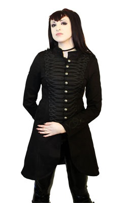 Long Military Coat$79.80  Black military coat with woven lapel design and antique finish buttons. 97% cotton 3% elastic.