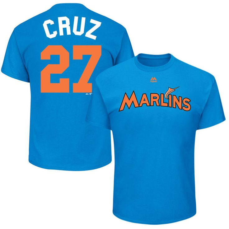 "Giancarlo Stanton ""Cruz"" Miami Marlins Majestic 2017 Players Weekend Name & Number T-Shirt - Blue"