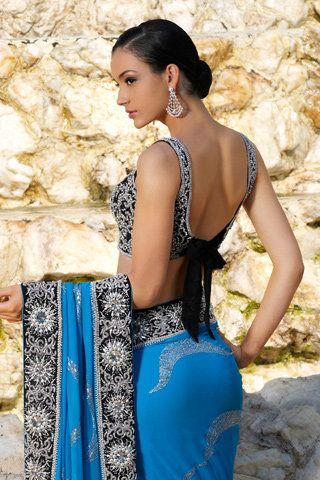 saree bow blouse. blue saree