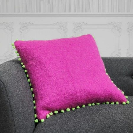 Fuschia Mohair Cushion With Green Pom - Cushions & Throws - Home Accessories