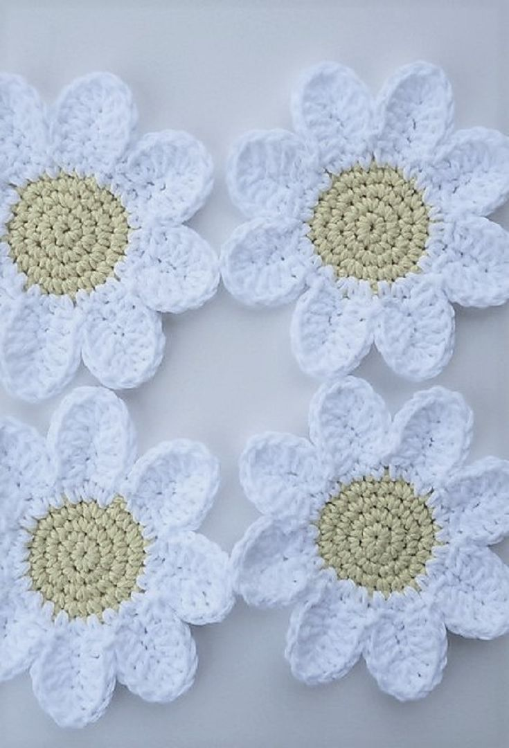 [Free Patterns] Beautiful Crocheted Daisy Coasters | flowers | spring