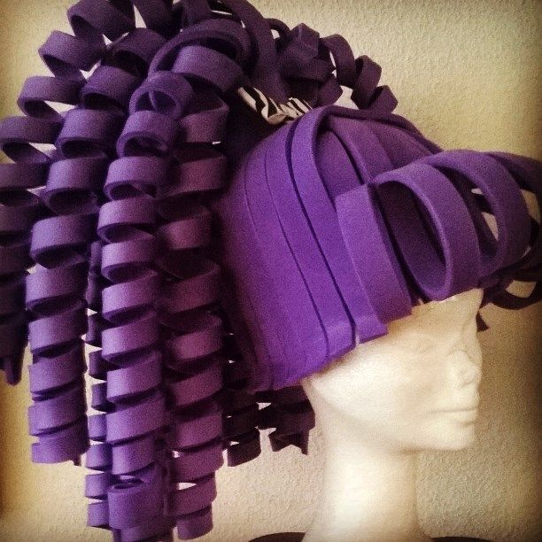 Purple curly ponytail foam wig made by Lady Mallemour.