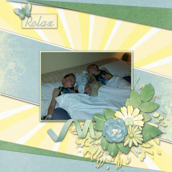 Relax - Digital Scrapbooking Layout I created using Fresh Air by Designs by Romajo and July 2016 Template Pack by Designs by Romajo both at With Love Studio. I diagonal lines of the template and the beautifull green and yellow colors of the kit.