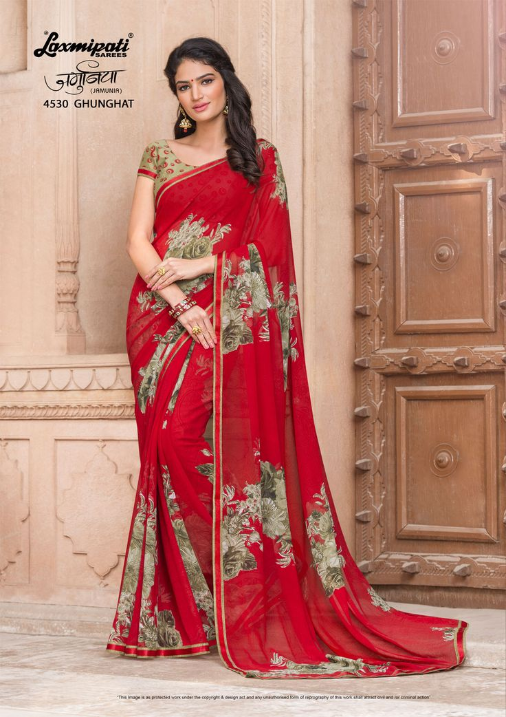 Impress all with your amazing traditional look by draping this Red #Georgette #Printed_Saree that earn you loads of plaudits from onlookers. Includes matching blouse fabric. #Catalogue #JAMUNIA #DesignNumber: 4530 #Price - ₹ 1475.00  #Bridal #ReadyToWear #Wedding #Apparel #Art #Autumn #Black #Border #MakeInIndia #CasualSarees #Clothing #ColoursOfIndia #Couture #Designer #Designersarees #Dress #Dubaifashion #Ecommerce #EpicLove #Ethn