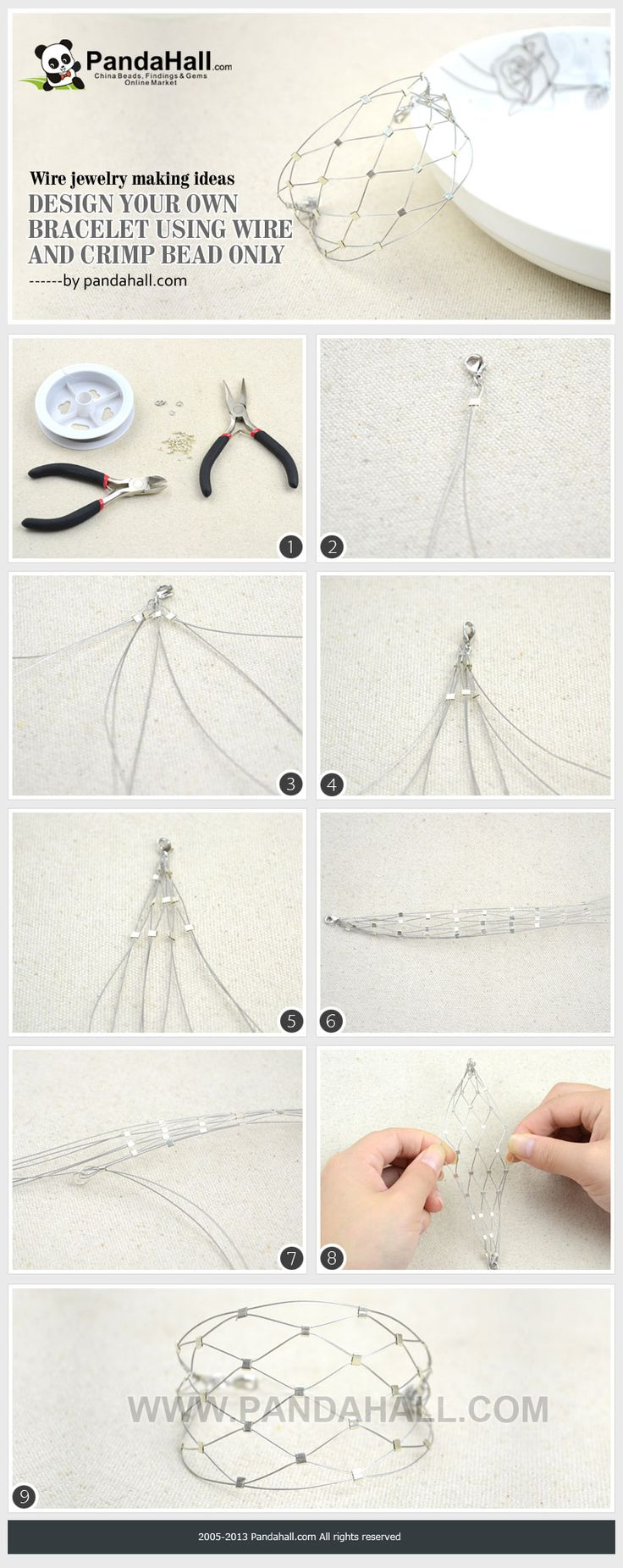Wire Jewelry Making Ideas-Design Your Own Bracelet Using Wire and Crimp Beads Only from pandahall.com