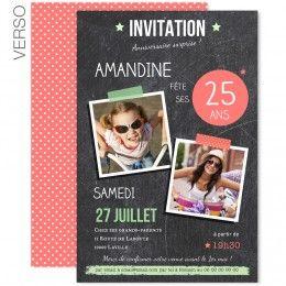 Invitations Anniversaire Adulte - Ardoise Pop - 1