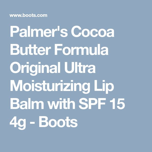 Palmer's Cocoa Butter Formula Original Ultra Moisturizing Lip Balm with SPF 15 4g - Boots