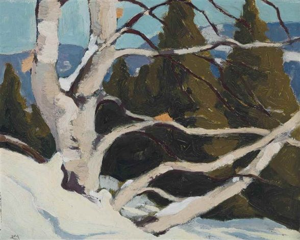 """""""Paysages des Laurentides,"""" Edwin Headley Holgate, 1950, oil on board, 8.5 x 10.5"""", private collection."""