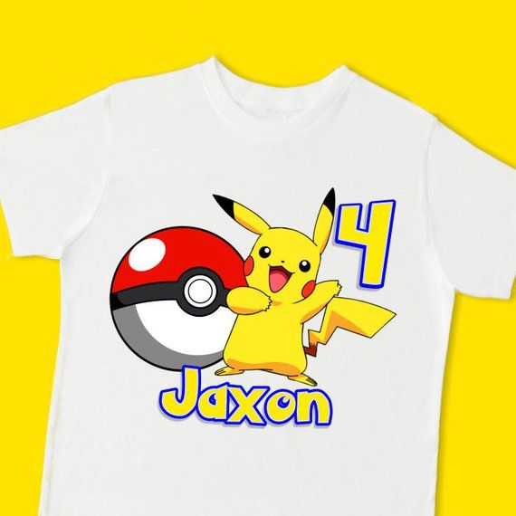 Personalized Pikacho Pokeman Birthday T-Shirt