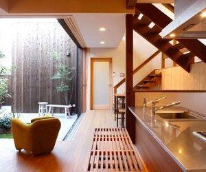 zen kitchen and courtyard