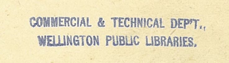 commercial & Technical department stamp of Wellington Public Libraries