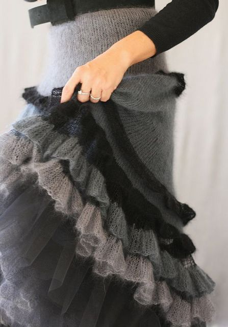 perfect knitted silk/mohair ruffled skirt by Jennica