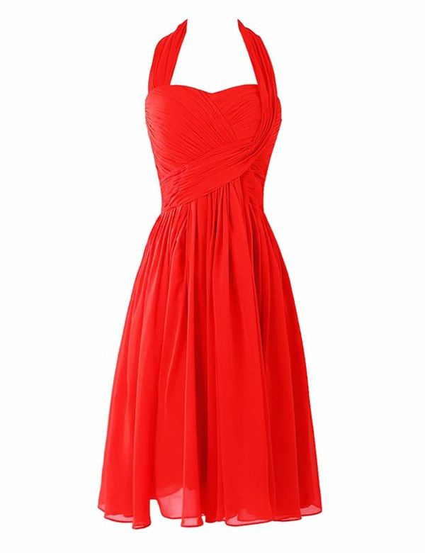 Halter Bridesmaid Dress,Backless Bridesmaid Dress,Knee-length Bridesmaid Dress,A-line Bridesmaid Dress, PD00033