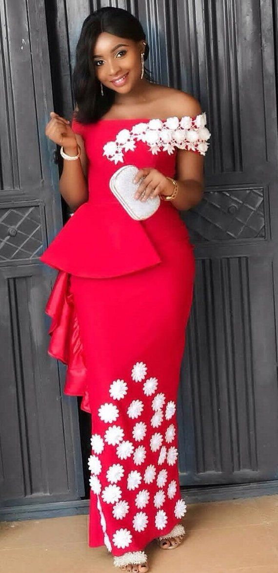 686486d547b10 African red wedding dress/African bridesmaids dresses/After-party dress/African  birthday dress/Afric