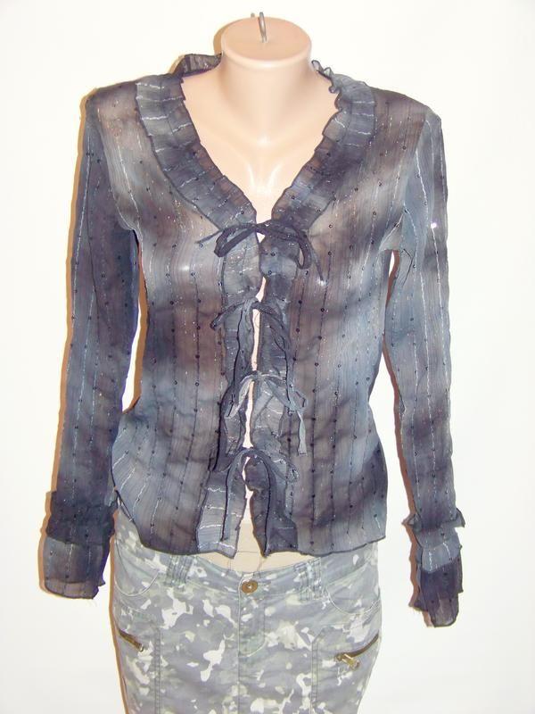 Серая вечерняя блузка на завязках в пайетки (xanaka, марокко) за 100 грн.