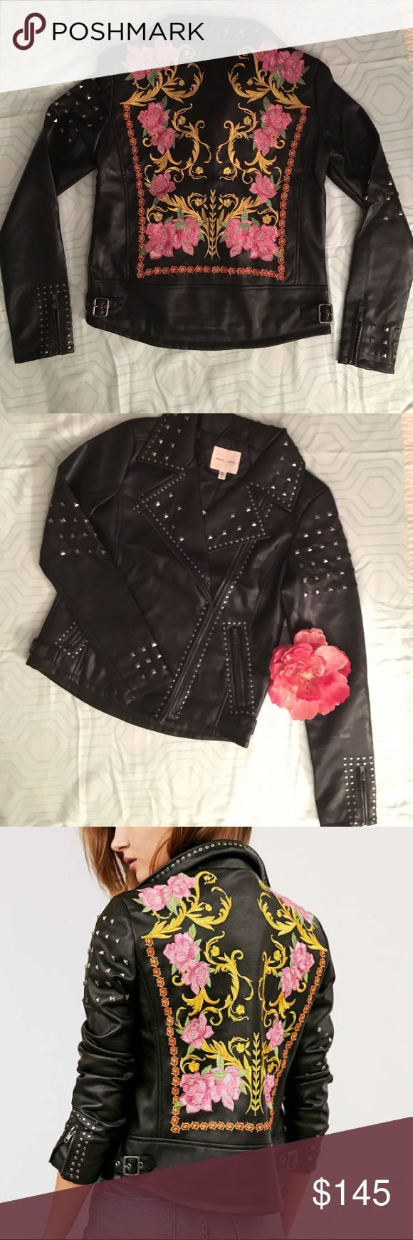 """Last Chance 🌺 LAST Chance to buy this jacket at the lowest sale price. 🆕🌸 Silence + Noise faux leather studded moto jacket with floral embroidered panel on the back. This jacket is so cute and stylish for fall and winter.  Size Xs. True to size. Fits a little cropped. Length from shoulder to hem is about 19.5"""" the back is curved a little at the bottom that measures about 21.5"""" from back of neck/shoulder to hem. Bust- Armpit to armpit is about 35"""". Sleeve is about 23"""" shoulder to cuff. NWT…"""