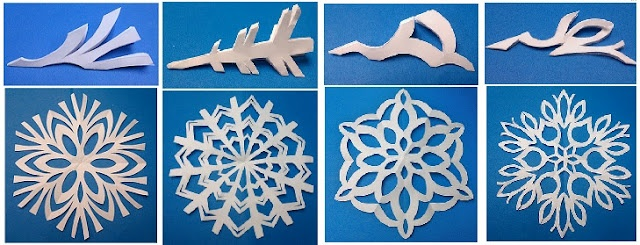 Snowflake Designs and how to cut them out.  We used to have a book of designs for cutting them. Folding the paper into 6th is the tricky part.