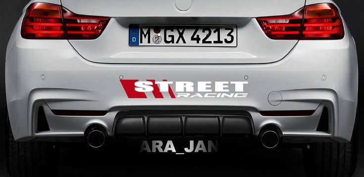 STREET RACING Vinyl Decal sport car racing sticker bumper emblem logo WHITE/RED  #ARA_JAN