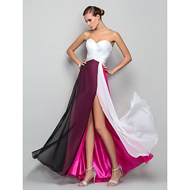 Formal Evening / Military Ball Dress - Furcal Plus Size / Petite A-line / Princess Sweetheart Floor-length Chiffon withSplit Front / – USD $ 79.99