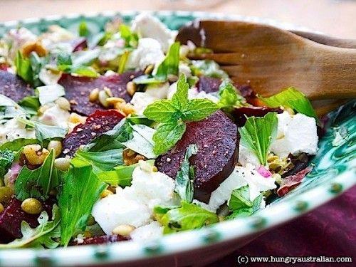 Beet, Feta and Walnut Salad with Mint. SO good!