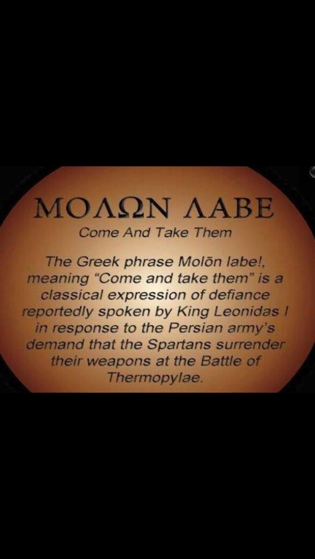 "Molon Labe!  My favorite lines from ""300""- ""We will darken the skies with our arrows!""  Response: ""Then we shall fight in the shade!"""