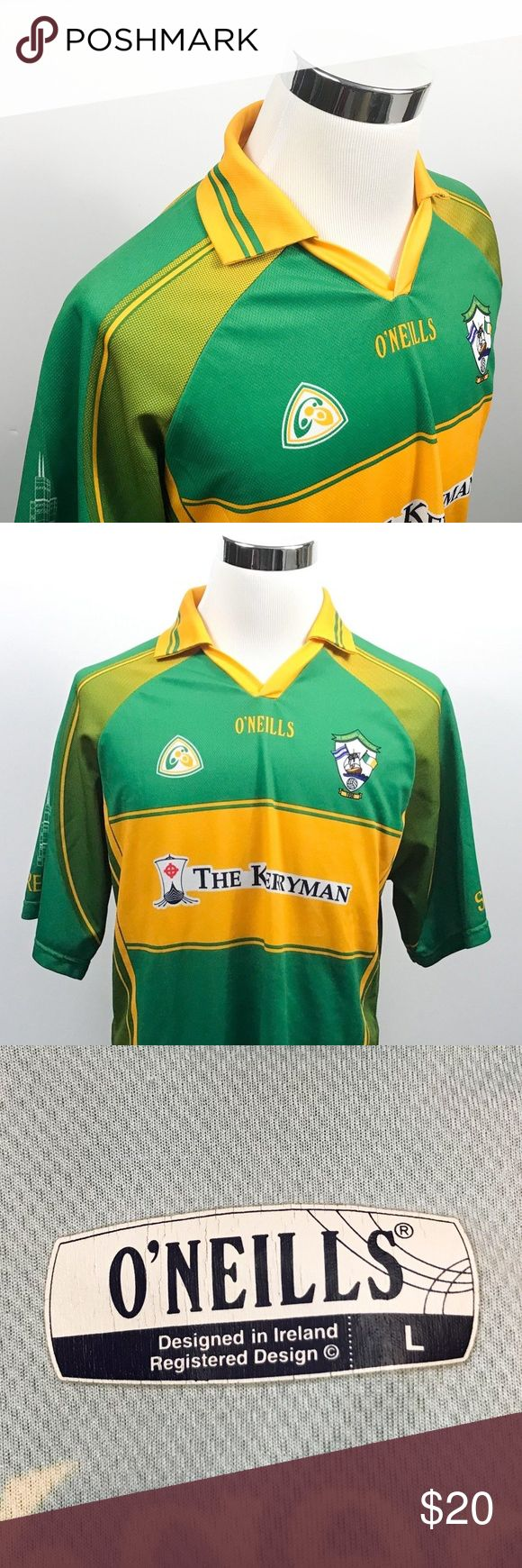 ONeills Large St Brendans Jersey Gaelic Football ONeills Mens Large St Brendans Jersey Gaelic Football Club Chicago Green Yellow  Measurements (inches): Pit to Pit (across the chest): 22.5 Length (top of collar to hem): 32  Condition:  This item is in good pre-owned condition! Free from rips & stains.  All items come from a smoke/ pet free environment. O'Neills Shirts Polos